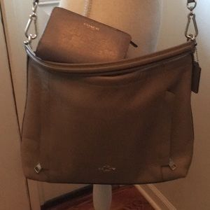 Coach scout putty taupe Pebbled leather+wallet SET